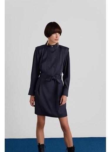 Rue Kuşaklı Ceket Elbise Lacivert